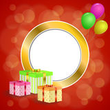 Abstract background birthday party gift box green red yellow balloons gold circle frame illustration. Vector Royalty Free Stock Image