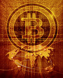 Abstract background with bitcoin symbol and world map. Digital abstract background with bitcoin symbol and world map Stock Illustration