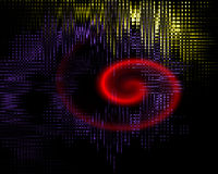 Abstract background. Black abstract background with colored lights and glowing red spiral stock illustration