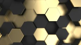 Abstract background with black and gold 3d hexagons. 3d render illustration royalty free illustration