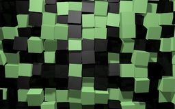 Abstract background of black and green random rotated cubes wall. Abstract beautiful creative background of black and green extended and dented random rotated Royalty Free Stock Images