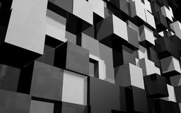 Abstract background of black and grey cubes wall at angle. Abstract beautiful creative background of black and grey extended and dented cubes wall at angle from royalty free illustration