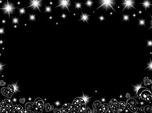 Abstract background in black with hearts and stars. Abstract background in black and white with hearts and stars Royalty Free Stock Photography
