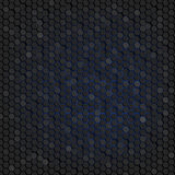 Abstract background of black hexagons. Wallpapers for web sites. Small honeycombs are connected. Luminous blue background in the b. Ackground. 3D illustration Stock Illustration