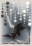 Abstract background with a black horse. Gray vector background with the stylized horse Stock Photography