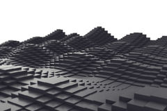 Abstract background, black metal cubes in the form of a wave. 3d illustration. Abstract background of black metal cubes in the form of a wave. 3d illustration royalty free illustration