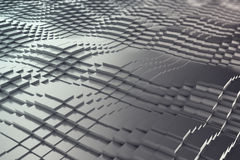 Abstract background, black metal cubes in the form of a wave. 3d illustration Royalty Free Stock Photo