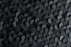 Abstract background with black randomly arranged hexagons. Futuristic backdrop wiht hexagonal black shapes and blue edges. 3D illustration vector illustration