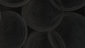 Abstract background from black spiraled coils. Wires with depth of field. 3D rendering illustration Stock Photography