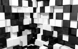 Abstract background of black and white cubes corner two walls. Abstract beautiful creative background of black and white random extended and dented cubes corner Royalty Free Stock Image