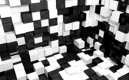 Abstract background of black and white cubes intersection walls. Abstract beautiful creative background of black white random extended and dented cubes corner of Stock Photo