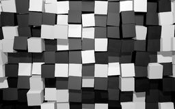 Abstract background of black and white random rotated cubes wall Royalty Free Stock Photography