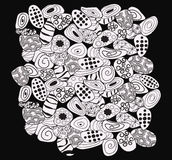 Abstract background black and white with stones pattern. Doodle style background. Tribal ethnic design. Abstract black and white with stones pattern. Abstract stock illustration