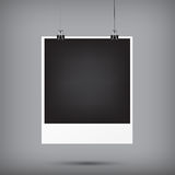 Abstract background blank instant photo frame hanging with black. Paper clip and rope vector illustration eps10 Stock Image