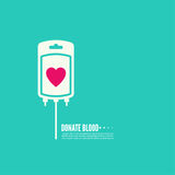 Abstract background with blood bag. Donation  with heart. Vector image help the sick and needy. dropper with drop. Logo Royalty Free Stock Photo