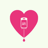 Abstract background with blood bag. Icon donation with heart. Vector image help the sick and needy. dropper with drop. Logo Vector Illustration