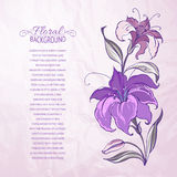Abstract background with blooming lilies. Vector illustration royalty free illustration