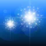 Abstract background blue. Glittering star of light Royalty Free Stock Photo