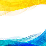 Abstract Background, Blue And Yellow Transparent Waved Line Brochures Stock Images