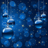 Abstract background with blue balls. Background with stars and Christmas balls, illustration royalty free illustration
