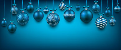 Abstract background with blue christmas balls. Abstract elegant background with blue christmas balls and place for text. Vector illustration stock illustration