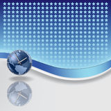 Abstract background with blue clock. And stars royalty free illustration