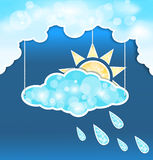 Abstract background with blue clouds,rain drops. Vector abstract background with blue clouds, sun and rain drops vector illustration