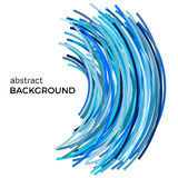Abstract background with blue colorful curved lines in a chaotic order. Colored lines with place for your text  on a white background Stock Photo