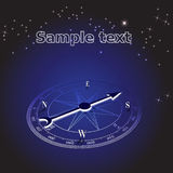 Abstract background blue compass in space. illustration Royalty Free Stock Image