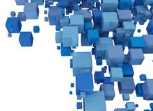 Abstract background with blue cubes. Abstract 3d background with blue cubes on white Stock Illustration