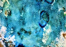 Blue dark colors, paint background, hues, watercolor paint background. Abstract background in blue dark brown orange white hues, blurred vivid texture, colors stock illustration