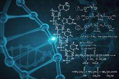 Medicine and chemistry. Abstract background with blue dna molecule and chemical formulas. Medicine and chemistry concept. 3D Rendering royalty free stock photography