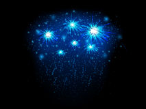 Abstract background with blue fireworks. Vector illustration Stock Image