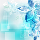 Abstract background blue flowers. Vector illustrat. Floral elements with lines on a blue background stock illustration