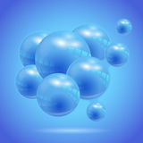 Abstract background with blue glass balls Royalty Free Stock Photography