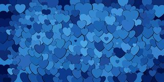Abstract background with blue hearts. Illustration, Various shades of blue hearts background Royalty Free Illustration