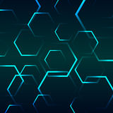 Abstract background with blue hexagon Stock Photo