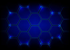 Abstract background blue hexagon technology. Vector concept desi Stock Images