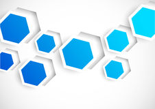 Abstract background with blue hexagons. Abstract background with blue cut out hexagons Royalty Free Stock Photography