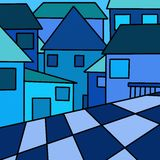 Blue houses Stock Images