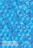 Abstract background. Blue isometric cubes with patterns. Vector hexagon structure. Futuristic science illustration. Size A4 stock illustration