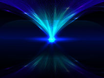 Abstract background with blue luminous interlocking lines and their reflection. Vector illustration stock illustration