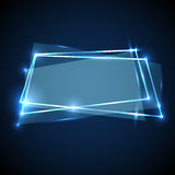 Abstract background with blue neon banner Stock Photography