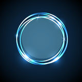 Abstract background with blue neon circles banner Stock Images