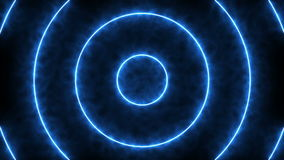 Abstract background with blue neon circles. 3d rendering royalty free illustration