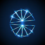 Abstract background with blue neon triangles Stock Image