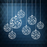 Abstract background blue. Ornamental Christmas balls with paper swirls. vector illustration Royalty Free Stock Image
