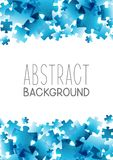 Abstract background with blue puzzle elements. Frame vector illustration