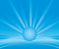 Abstract background with blue radiant sun Stock Photos