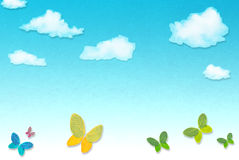 Abstract background blue sky. With butterflies vector illustration